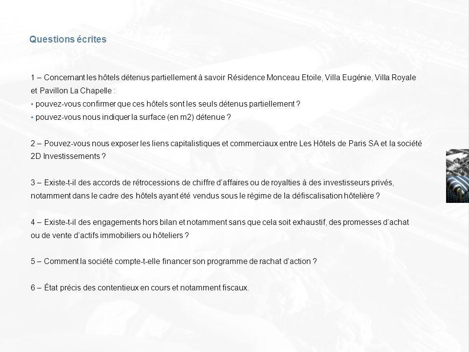 Questions écrites 1 – Concernant les hôtels détenus partiellement à savoir Résidence Monceau Etoile, Villa Eugénie, Villa Royale et Pavillon La Chapel
