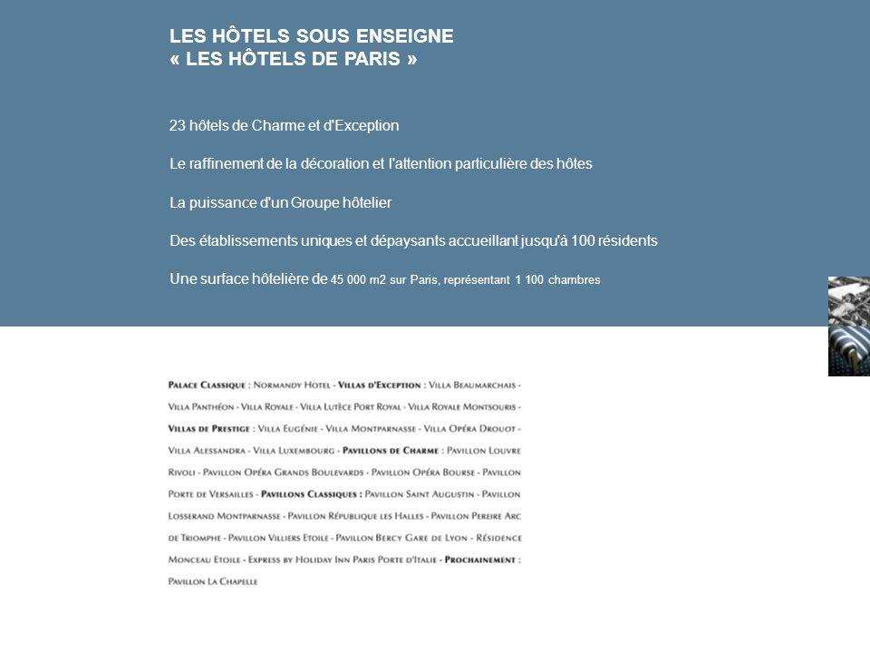 LES HÔTELS SOUS ENSEIGNE « LES HÔTELS DE PARIS » 23 hôtels de Charme et d'Exception Le raffinement de la décoration et l'attention particulière des hô