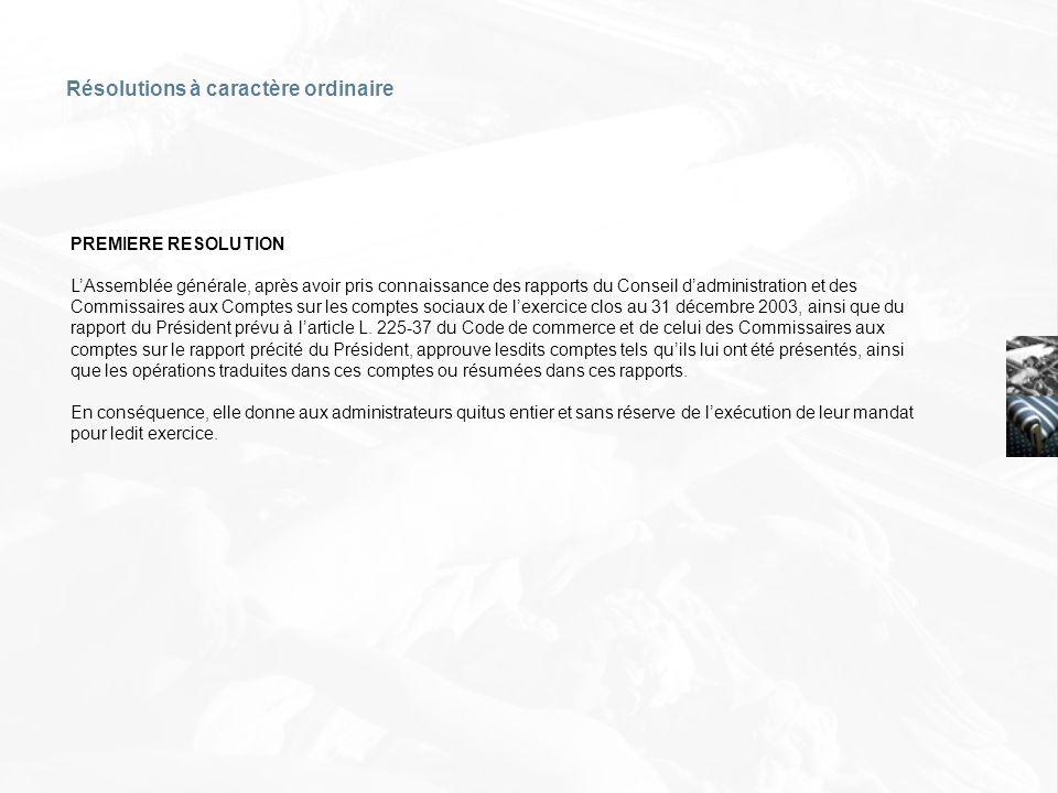 Résolutions à caractère ordinaire PREMIERE RESOLUTION LAssemblée générale, après avoir pris connaissance des rapports du Conseil dadministration et de