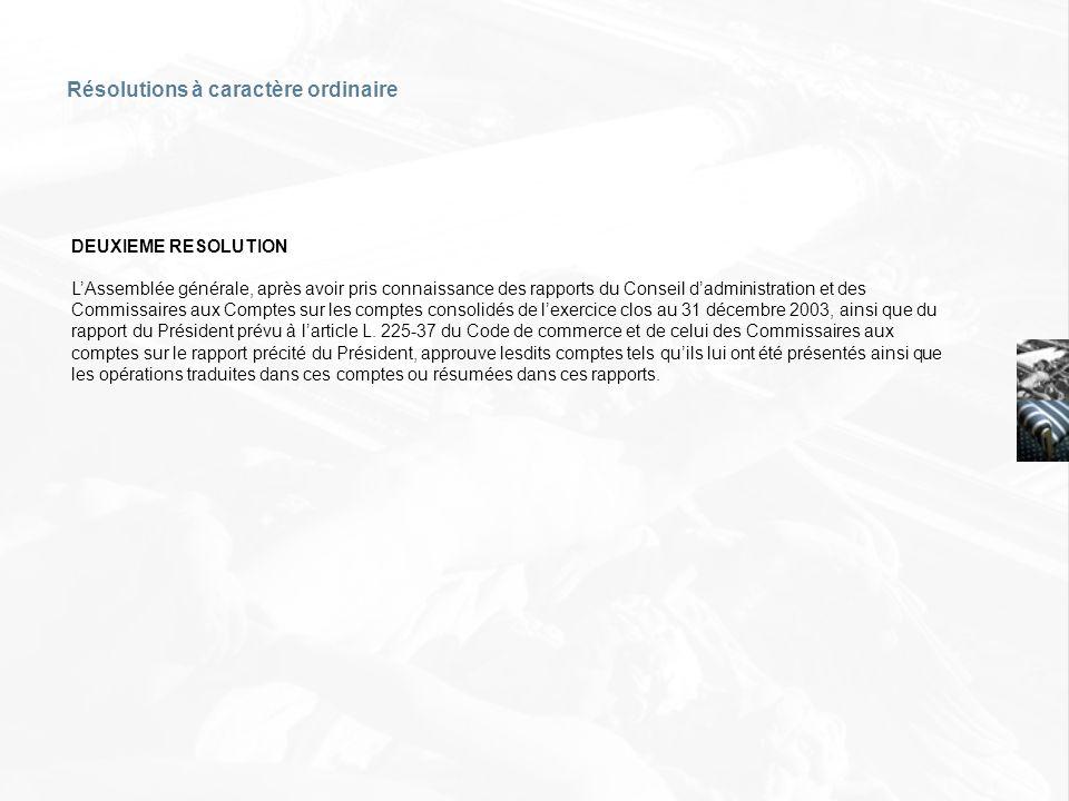 DEUXIEME RESOLUTION LAssemblée générale, après avoir pris connaissance des rapports du Conseil dadministration et des Commissaires aux Comptes sur les