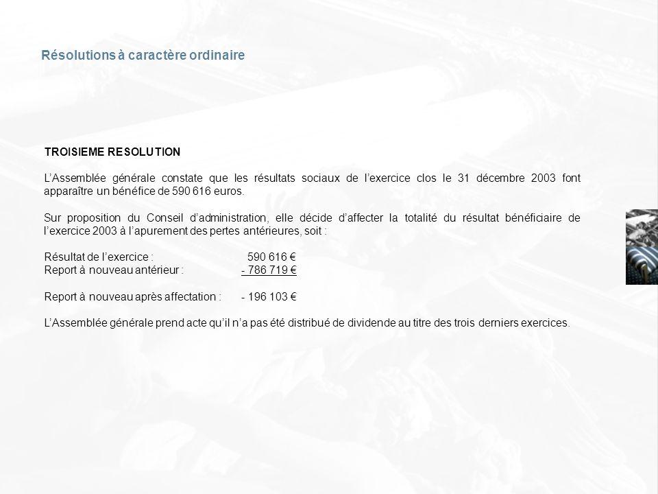 TROISIEME RESOLUTION LAssemblée générale constate que les résultats sociaux de lexercice clos le 31 décembre 2003 font apparaître un bénéfice de 590 6
