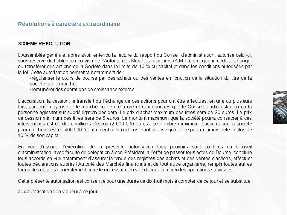 SIXIEME RESOLUTION LAssemblée générale, après avoir entendu la lecture du rapport du Conseil dadministration, autorise celui-ci, sous réserve de lobte