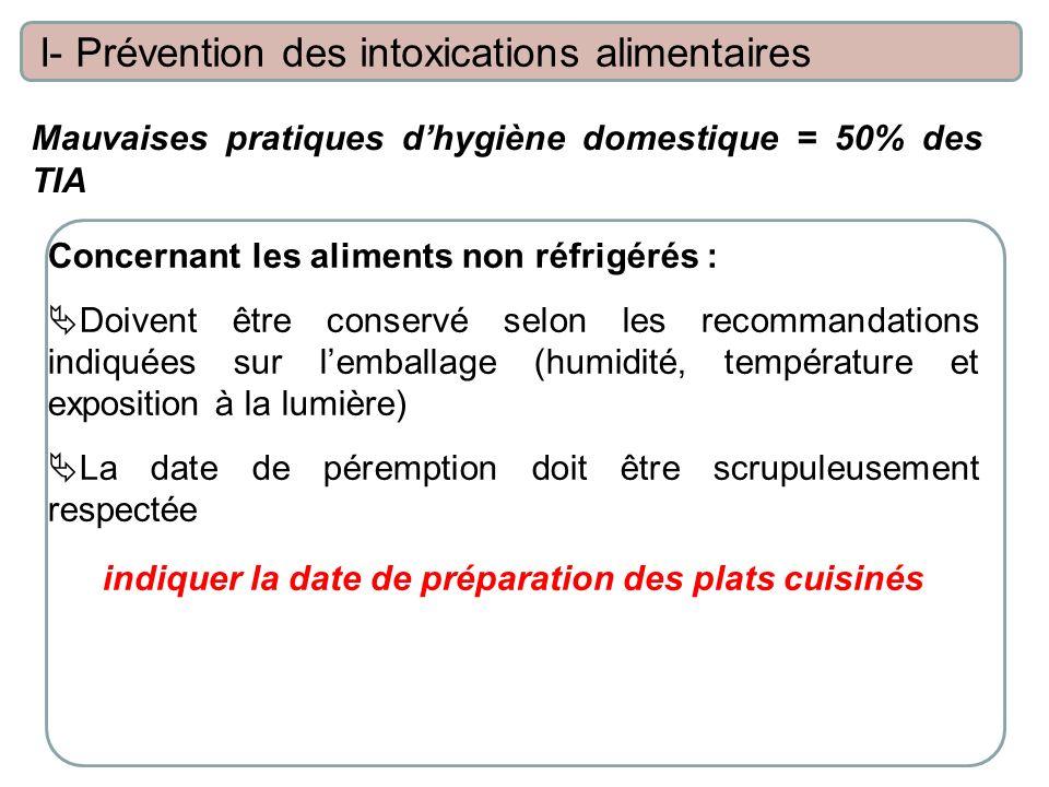 Mauvaises pratiques dhygiène domestique = 50% des TIA I- Prévention des intoxications alimentaires Concernant les aliments non réfrigérés : Doivent êt