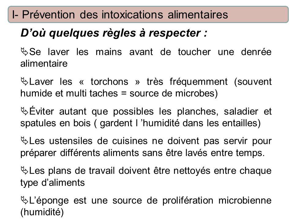 Doù quelques règles à respecter : Se laver les mains avant de toucher une denrée alimentaire Laver les « torchons » très fréquemment (souvent humide e