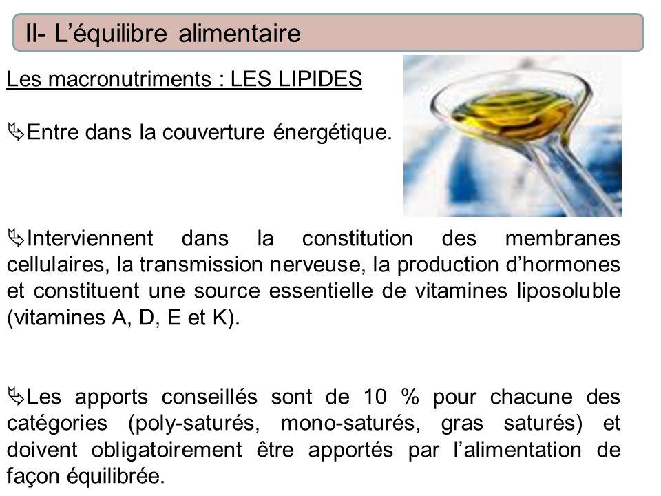 Les macronutriments : LES LIPIDES Entre dans la couverture énergétique. Interviennent dans la constitution des membranes cellulaires, la transmission