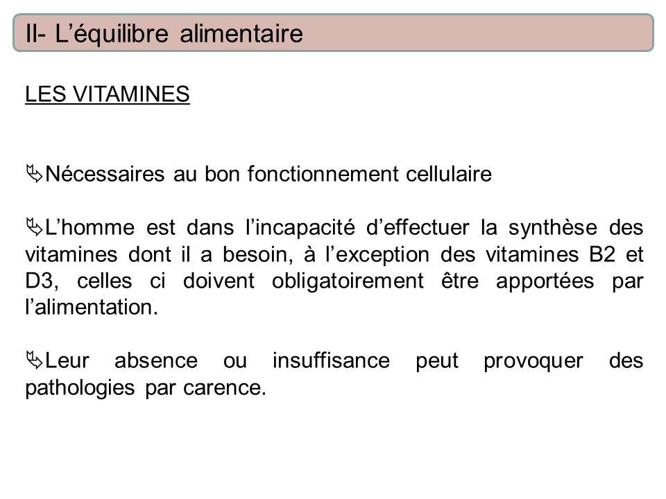 LES VITAMINES Nécessaires au bon fonctionnement cellulaire Lhomme est dans lincapacité deffectuer la synthèse des vitamines dont il a besoin, à lexception des vitamines B2 et D3, celles ci doivent obligatoirement être apportées par lalimentation.