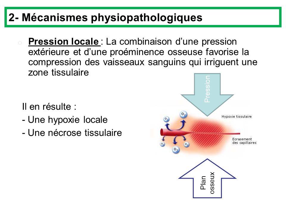 o Pression locale : La combinaison dune pression extérieure et dune proéminence osseuse favorise la compression des vaisseaux sanguins qui irriguent une zone tissulaire Il en résulte : - Une hypoxie locale - Une nécrose tissulaire Pression Plan osseux 2- Mécanismes physiopathologiques