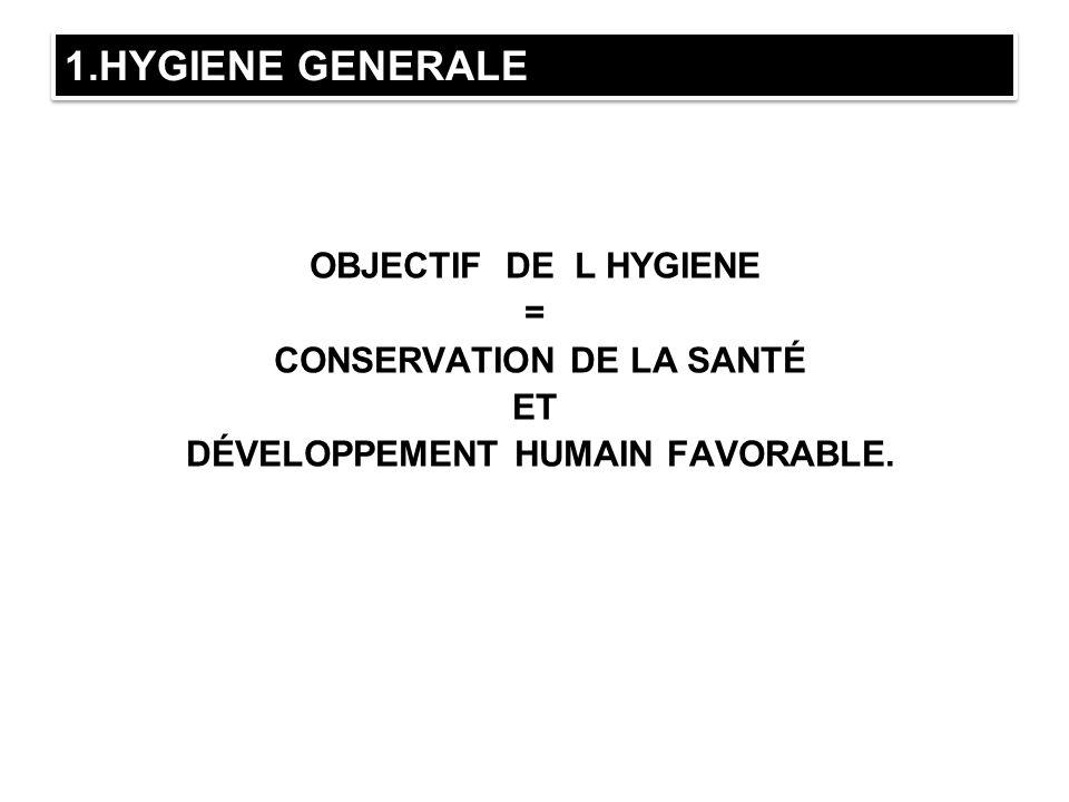 1.HYGIENE GENERALE OBJECTIF DE L HYGIENE = CONSERVATION DE LA SANTÉ ET DÉVELOPPEMENT HUMAIN FAVORABLE.