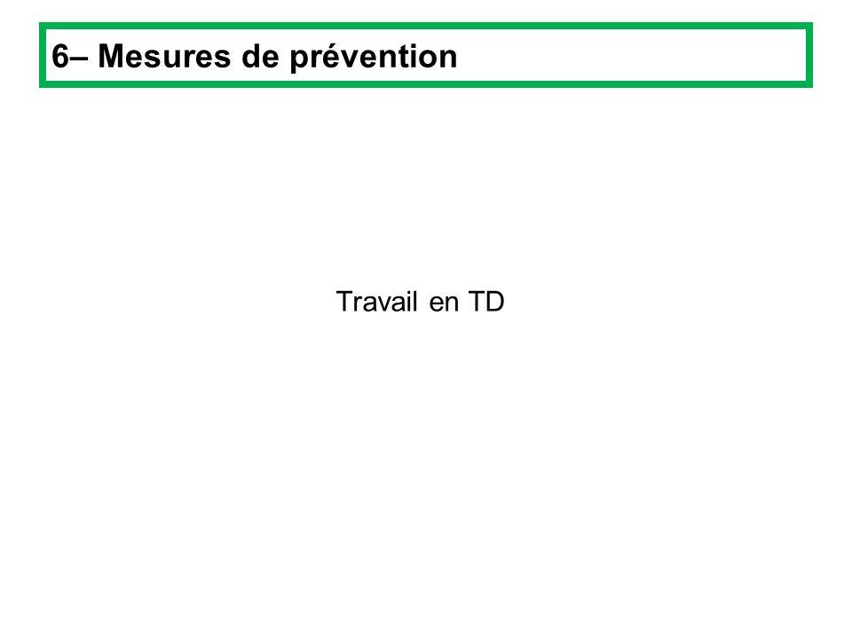 Travail en TD 6– Mesures de prévention