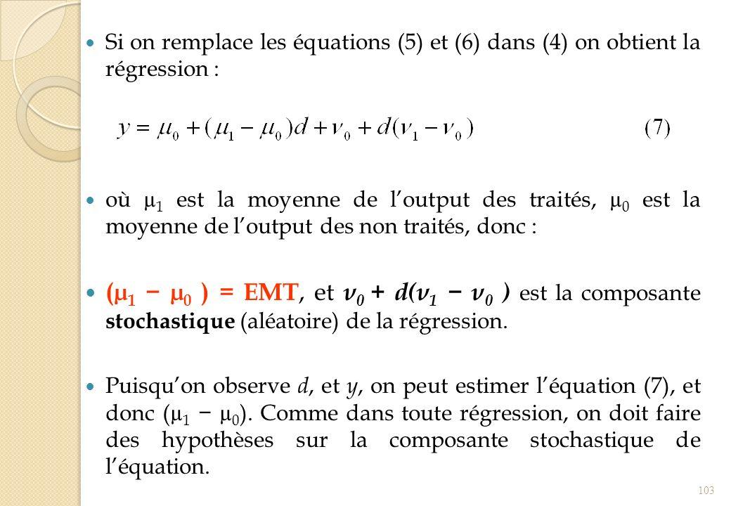 Si on remplace les équations (5) et (6) dans (4) on obtient la régression : où µ 1 est la moyenne de loutput des traités, µ 0 est la moyenne de loutpu