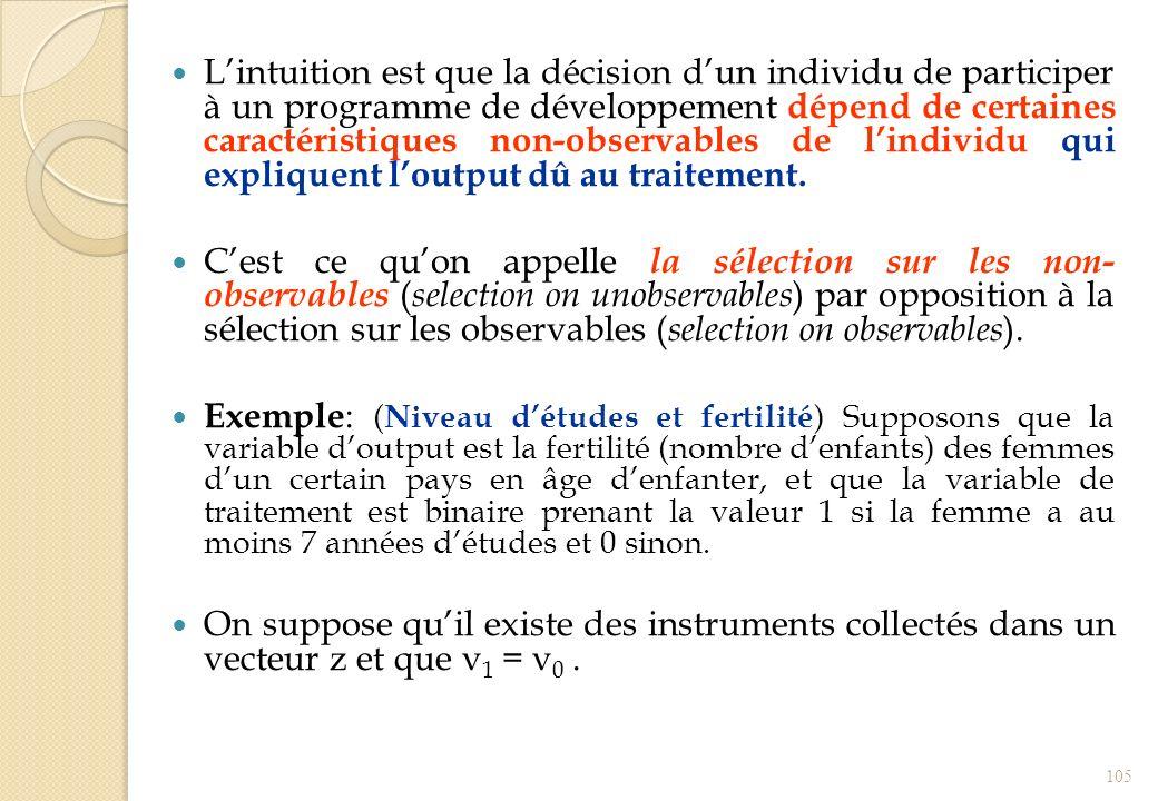 Lintuition est que la décision dun individu de participer à un programme de développement dépend de certaines caractéristiques non-observables de lind