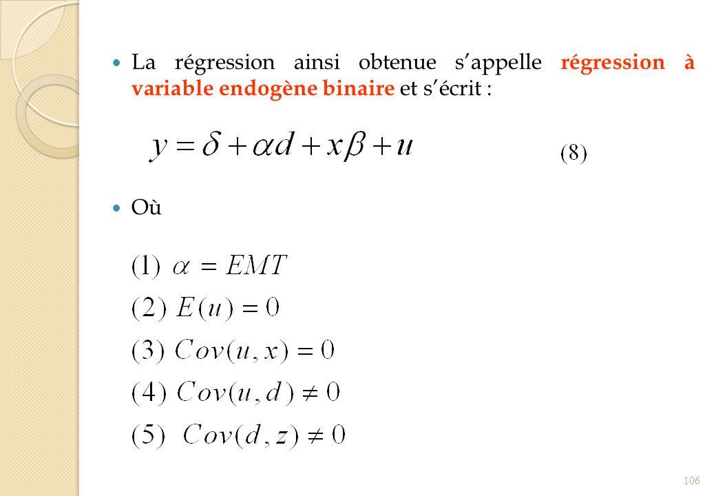 La régression ainsi obtenue sappelle régression à variable endogène binaire et sécrit : Où 106