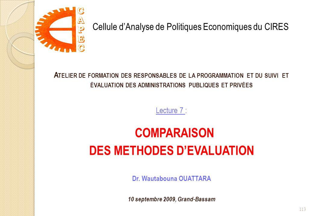 A TELIER DE FORMATION DES RESPONSABLES DE LA PROGRAMMATION ET DU SUIVI ET ÉVALUATION DES ADMINISTRATIONS PUBLIQUES ET PRIVÉES Lecture 7 : COMPARAISON