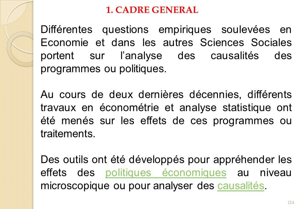 1. CADRE GENERAL Différentes questions empiriques soulevées en Economie et dans les autres Sciences Sociales portent sur lanalyse des causalités des p