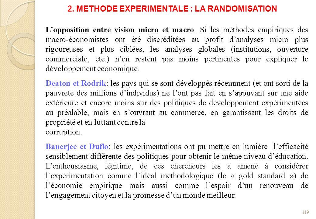 2. METHODE EXPERIMENTALE : LA RANDOMISATION Lopposition entre vision micro et macro. Si les méthodes empiriques des macro-économistes ont été discrédi
