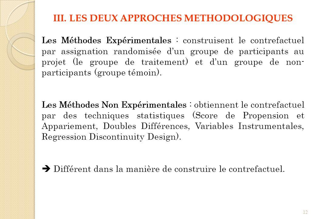 III. LES DEUX APPROCHES METHODOLOGIQUES Les Méthodes Expérimentales : construisent le contrefactuel par assignation randomisée dun groupe de participa