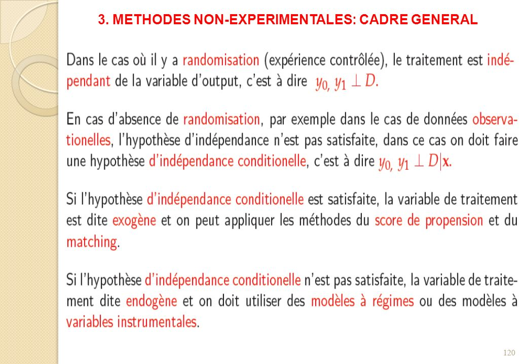 3. METHODES NON-EXPERIMENTALES: CADRE GENERAL 120