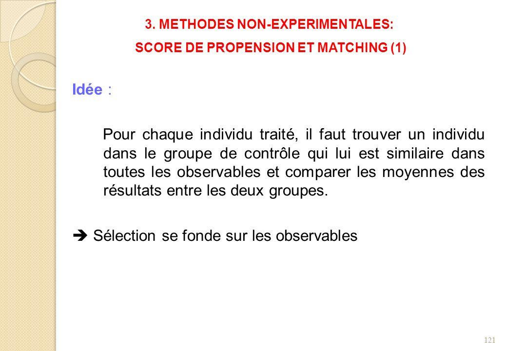 3. METHODES NON-EXPERIMENTALES: SCORE DE PROPENSION ET MATCHING (1) Idée : Pour chaque individu traité, il faut trouver un individu dans le groupe de