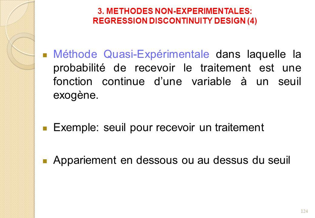 3. METHODES NON-EXPERIMENTALES: REGRESSION DISCONTINUITY DESIGN (4) Méthode Quasi-Expérimentale dans laquelle la probabilité de recevoir le traitement