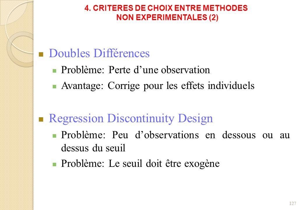 4. CRITERES DE CHOIX ENTRE METHODES NON EXPERIMENTALES (2) Doubles Différences Problème: Perte dune observation Avantage: Corrige pour les effets indi