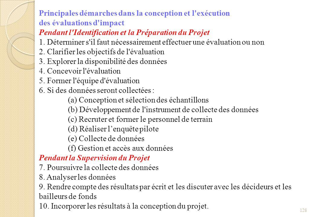128 Principales démarches dans la conception et l'exécution des évaluations d'impact Pendant l'Identification et la Préparation du Projet 1. Détermine
