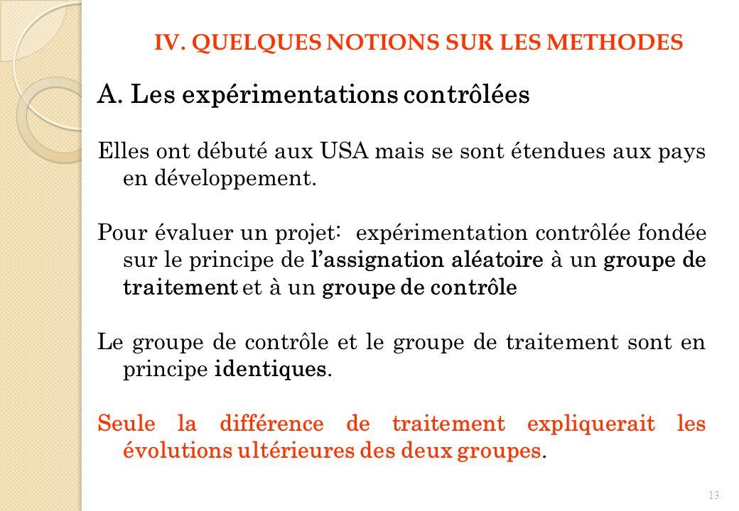 A. Les expérimentations contrôlées Elles ont débuté aux USA mais se sont étendues aux pays en développement. Pour évaluer un projet: expérimentation c