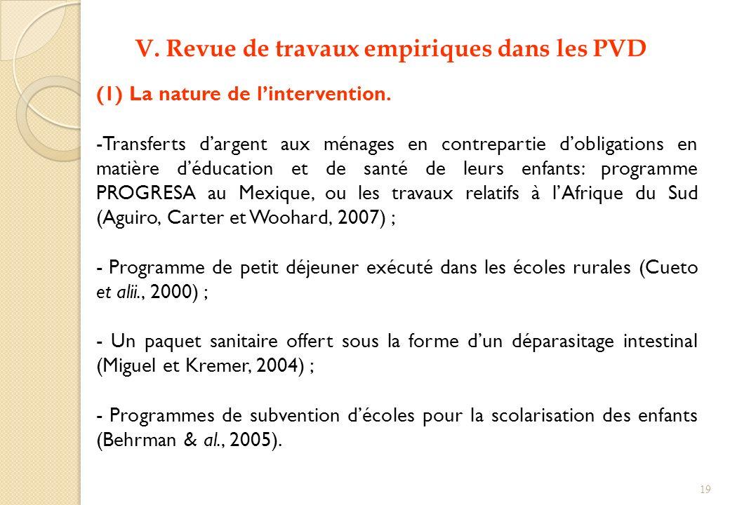 V. Revue de travaux empiriques dans les PVD (1) La nature de lintervention. -Transferts dargent aux ménages en contrepartie dobligations en matière dé
