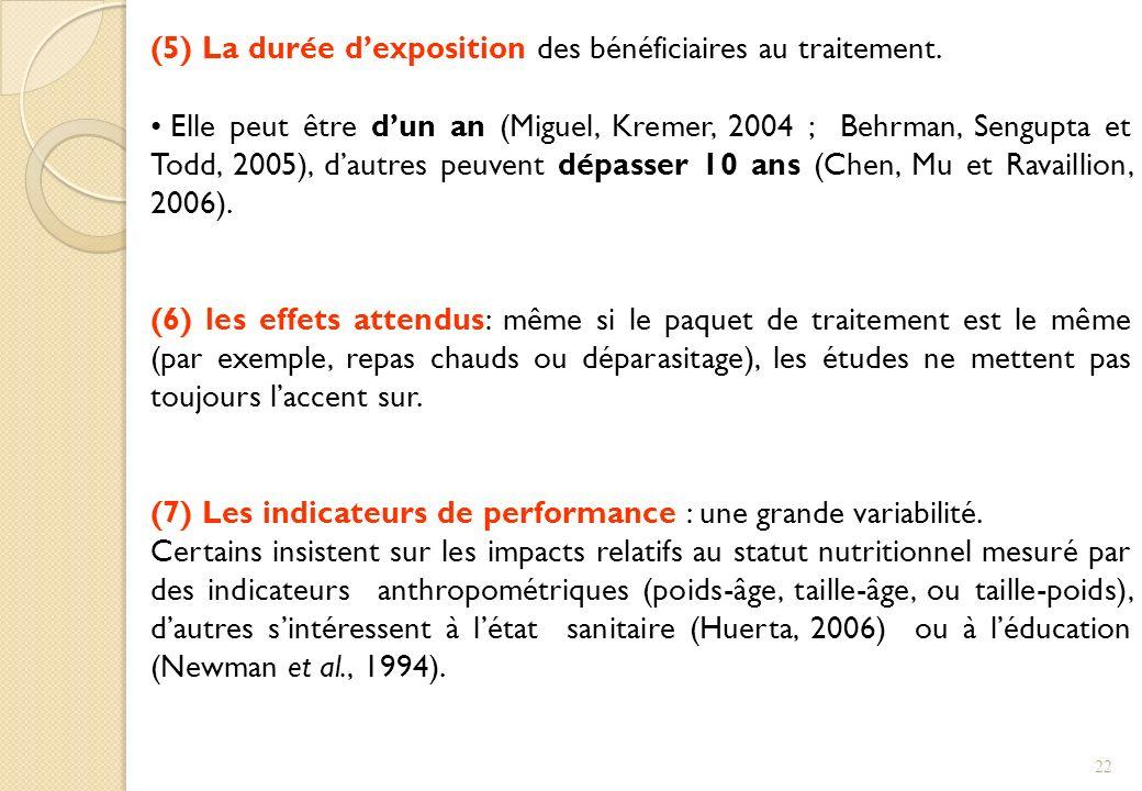 (5) La durée dexposition des bénéficiaires au traitement. Elle peut être dun an (Miguel, Kremer, 2004 ; Behrman, Sengupta et Todd, 2005), dautres peuv