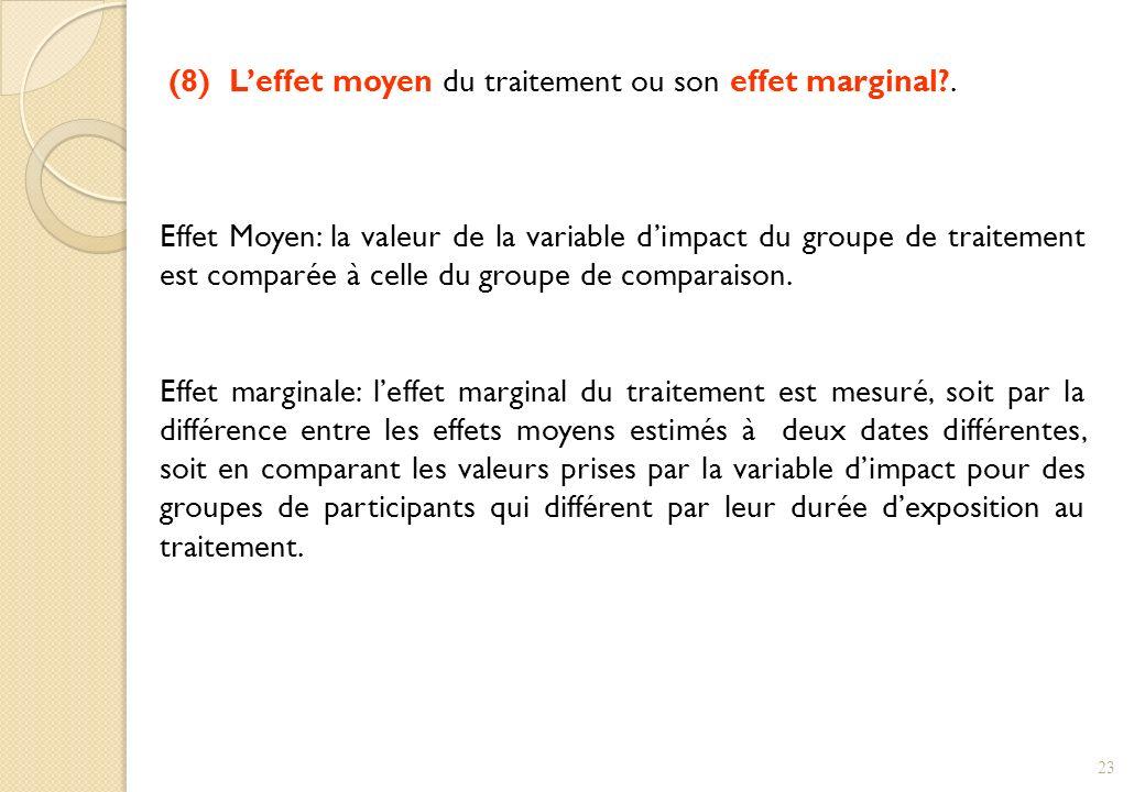 (8) Leffet moyen du traitement ou son effet marginal?. Effet Moyen: la valeur de la variable dimpact du groupe de traitement est comparée à celle du g