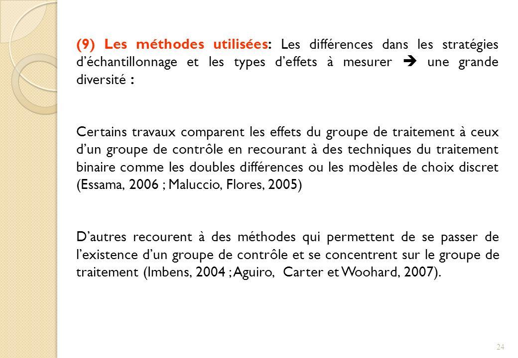 (9) Les méthodes utilisées: Les différences dans les stratégies déchantillonnage et les types deffets à mesurer une grande diversité : Certains travau