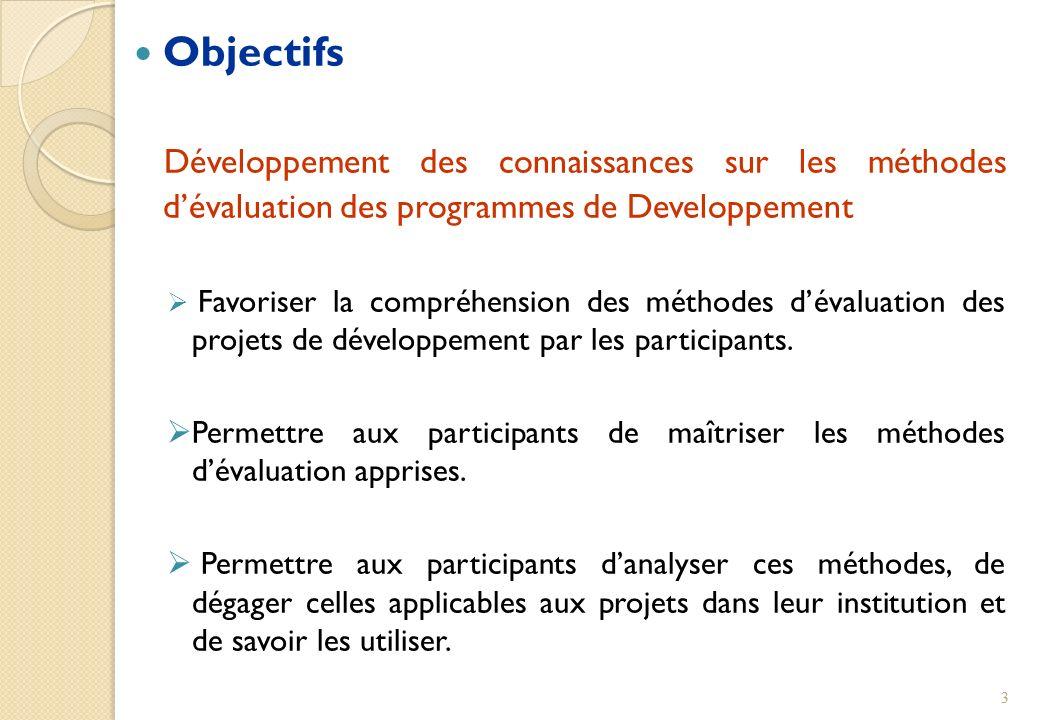 Objectifs Développement des connaissances sur les méthodes dévaluation des programmes de Developpement Favoriser la compréhension des méthodes dévalua