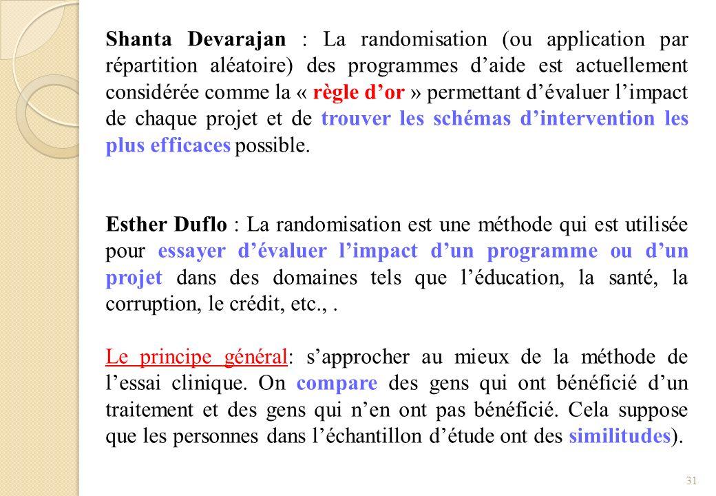 Shanta Devarajan : La randomisation (ou application par répartition aléatoire) des programmes daide est actuellement considérée comme la « règle dor »
