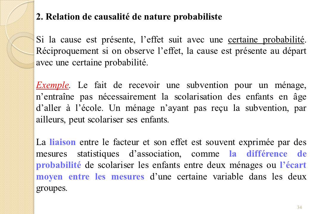 2. Relation de causalité de nature probabiliste Si la cause est présente, leffet suit avec une certaine probabilité. Réciproquement si on observe leff