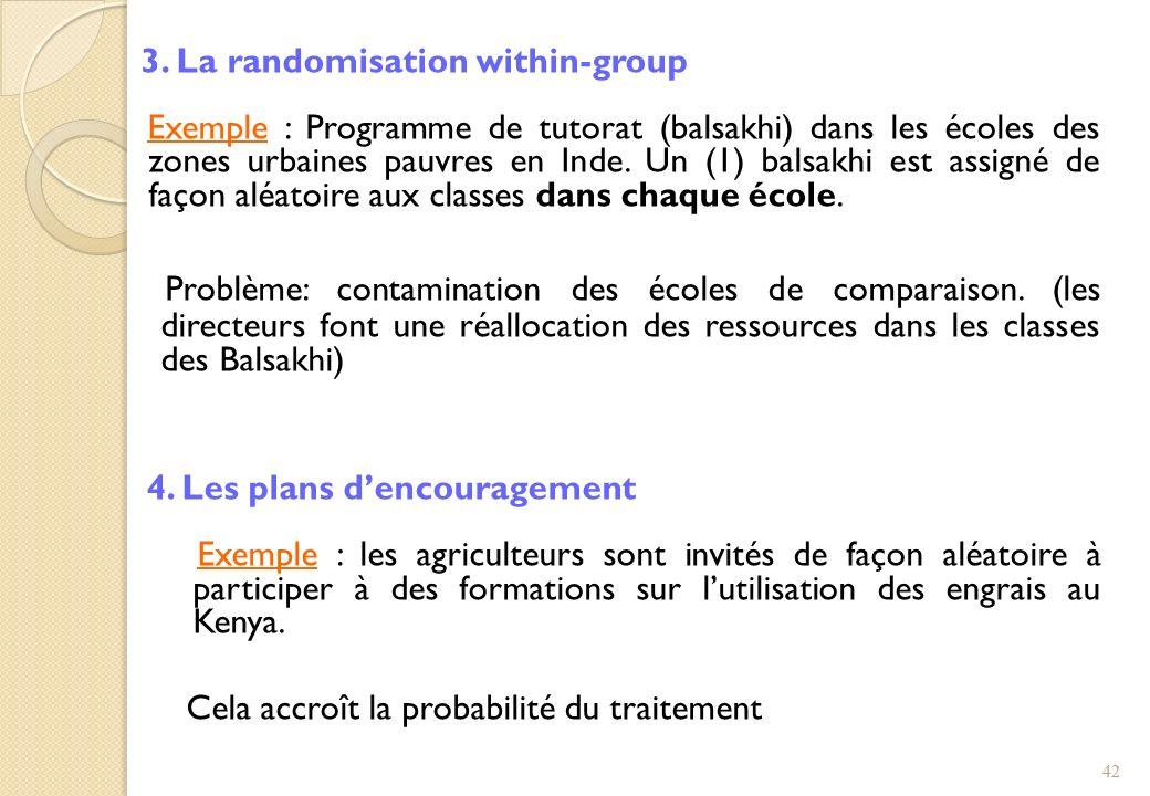 3. La randomisation within-group Exemple : Programme de tutorat (balsakhi) dans les écoles des zones urbaines pauvres en Inde. Un (1) balsakhi est ass