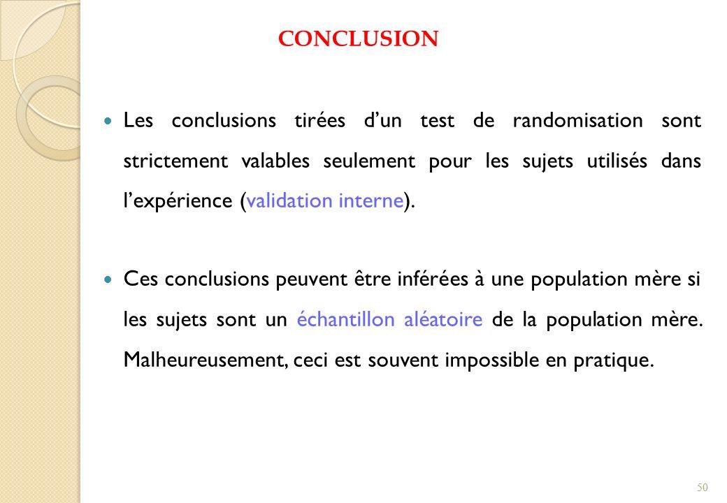 CONCLUSION Les conclusions tirées dun test de randomisation sont strictement valables seulement pour les sujets utilisés dans lexpérience (validation