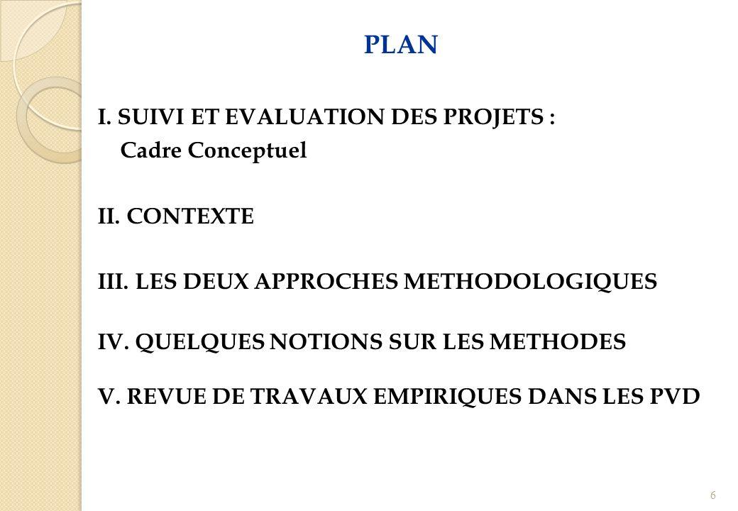PLAN I. SUIVI ET EVALUATION DES PROJETS : Cadre Conceptuel II. CONTEXTE III. LES DEUX APPROCHES METHODOLOGIQUES IV. QUELQUES NOTIONS SUR LES METHODES