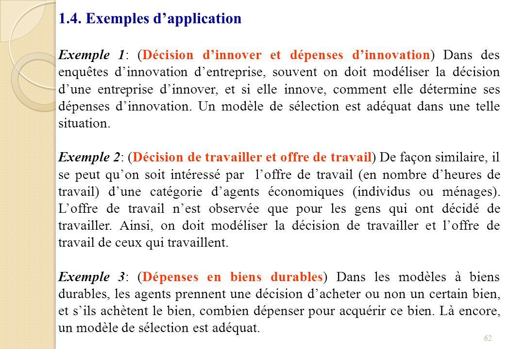 1.4. Exemples dapplication Exemple 1: (Décision dinnover et dépenses dinnovation) Dans des enquêtes dinnovation dentreprise, souvent on doit modéliser