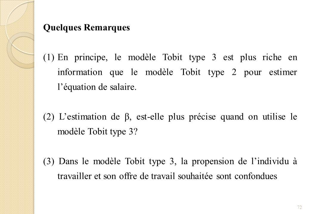 Quelques Remarques (1)En principe, le modèle Tobit type 3 est plus riche en information que le modèle Tobit type 2 pour estimer léquation de salaire.