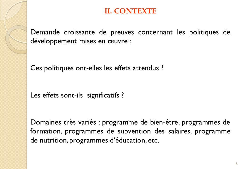 V.Revue de travaux empiriques dans les PVD (1) La nature de lintervention.