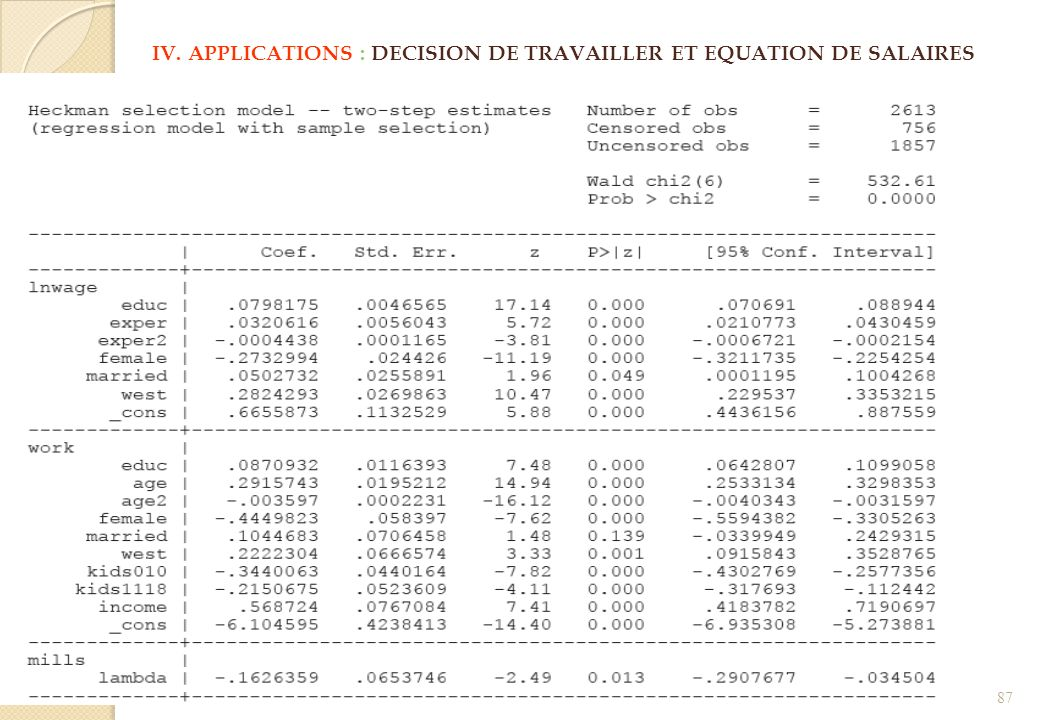 IV. APPLICATIONS : DECISION DE TRAVAILLER ET EQUATION DE SALAIRES 87