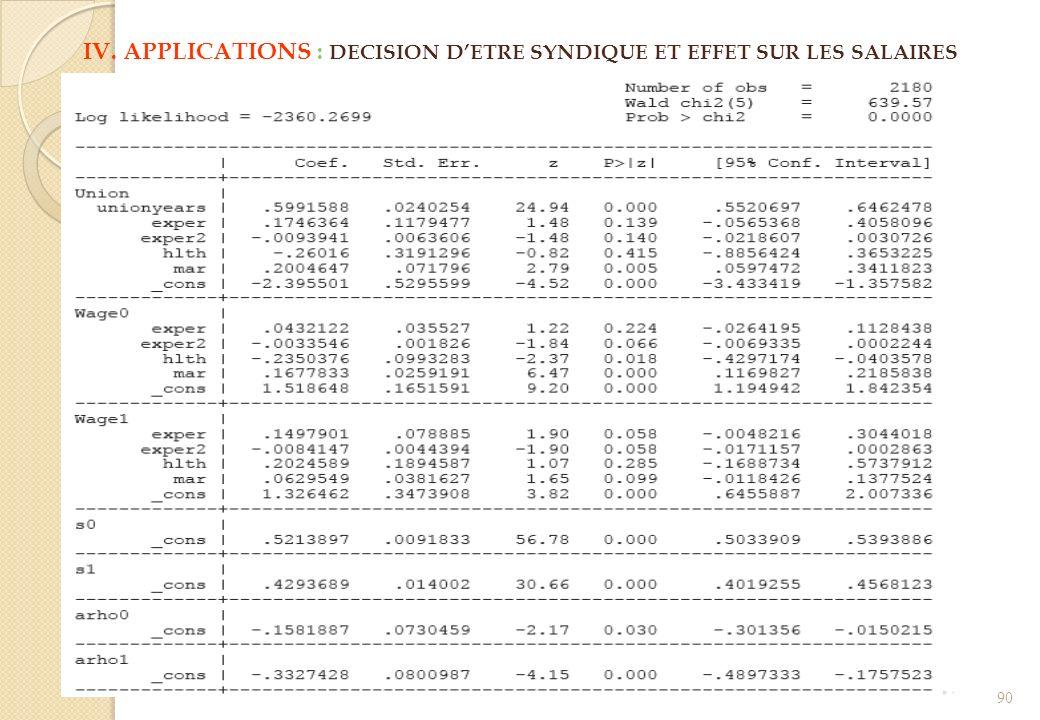 IV. APPLICATIONS : DECISION DETRE SYNDIQUE ET EFFET SUR LES SALAIRES 90