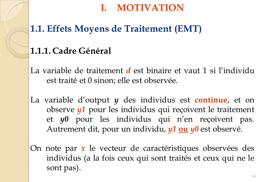 I.MOTIVATION 1.1. Effets Moyens de Traitement (EMT) 1.1.1. Cadre Général La variable de traitement d est binaire et vaut 1 si lindividu est traité et