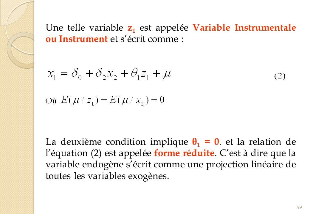Une telle variable z 1 est appelée Variable Instrumentale ou Instrument et sécrit comme : La deuxième condition implique θ 1 = 0. et la relation de lé