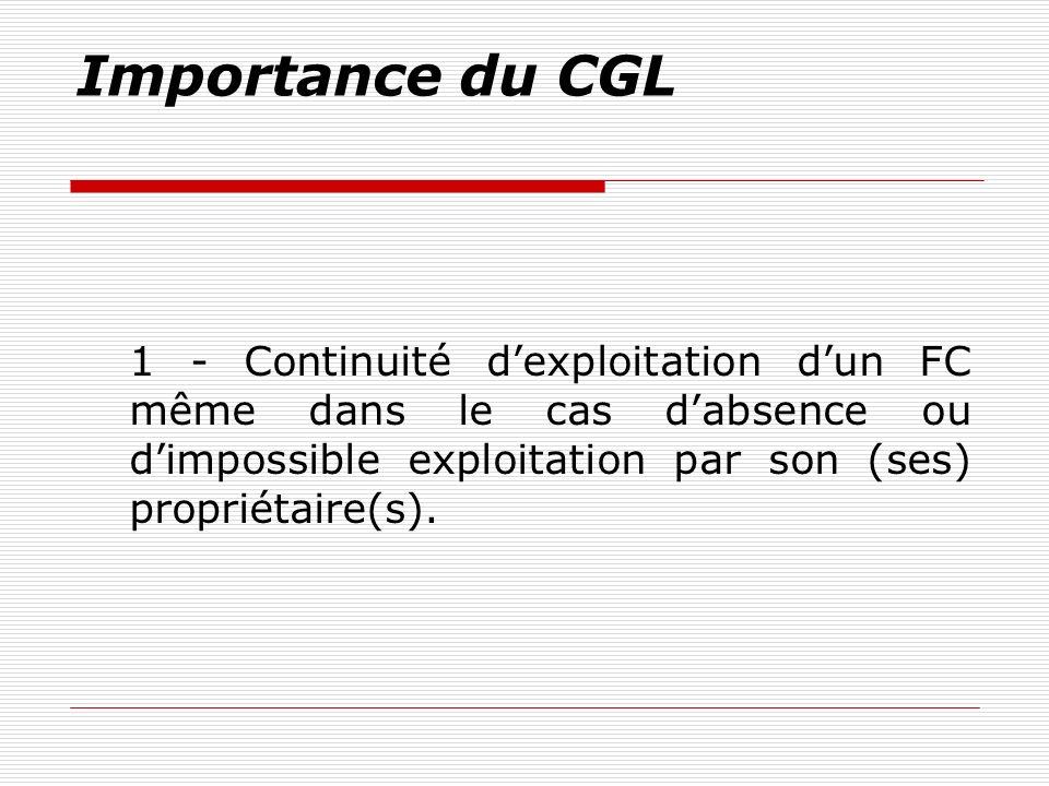 Importance du CGL 1 - Continuité dexploitation dun FC même dans le cas dabsence ou dimpossible exploitation par son (ses) propriétaire(s).