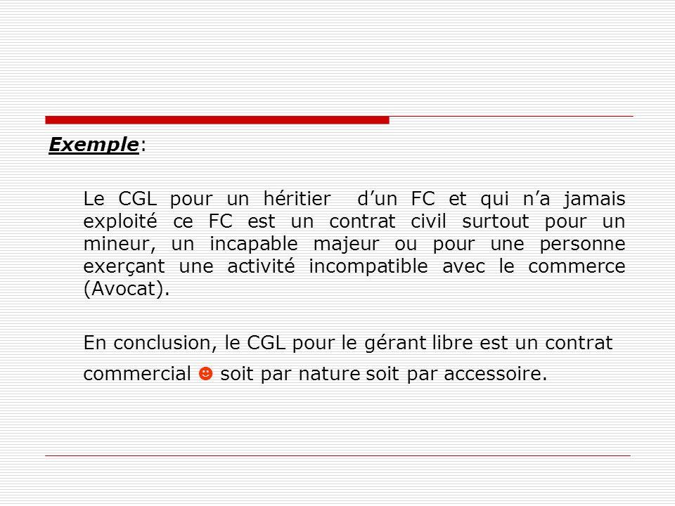 Exemple: Le CGL pour un héritier dun FC et qui na jamais exploité ce FC est un contrat civil surtout pour un mineur, un incapable majeur ou pour une p