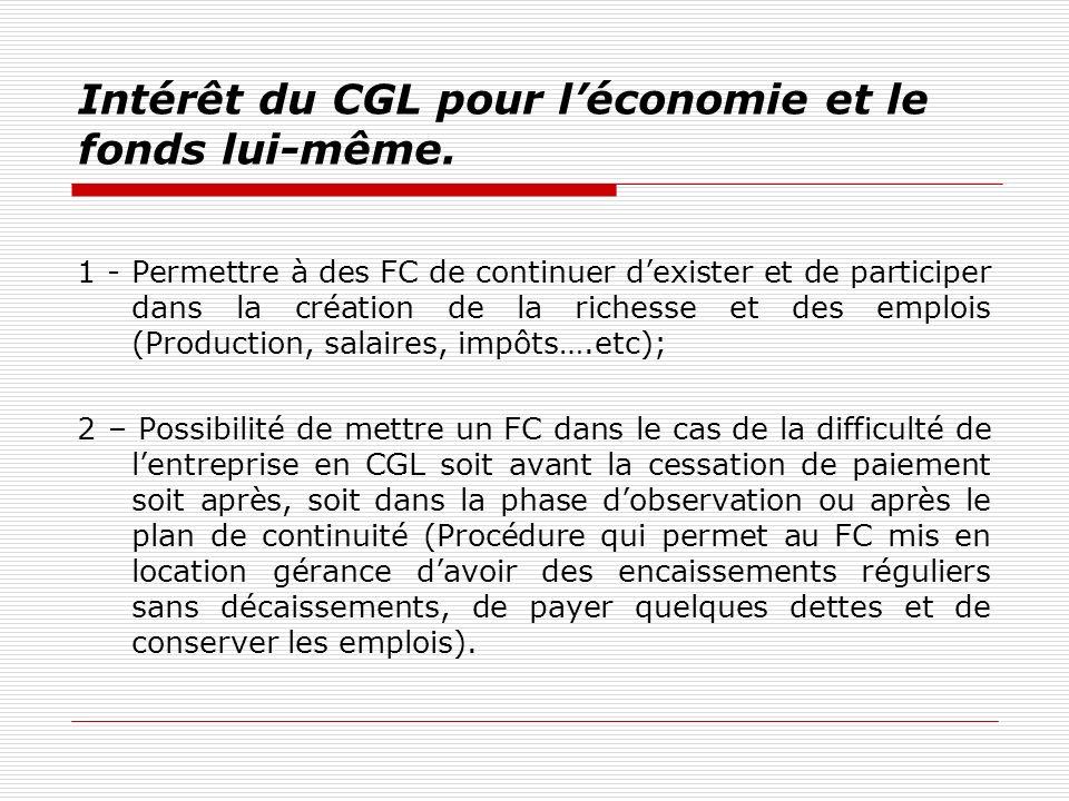 Intérêt du CGL pour léconomie et le fonds lui-même. 1 - Permettre à des FC de continuer dexister et de participer dans la création de la richesse et d