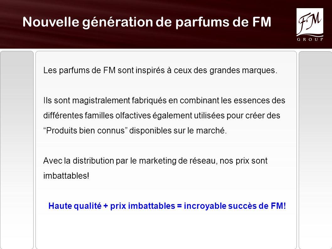 Nouvelle génération de parfums de FM Les parfums de FM sont inspirés à ceux des grandes marques. Ils sont magistralement fabriqués en combinant les es