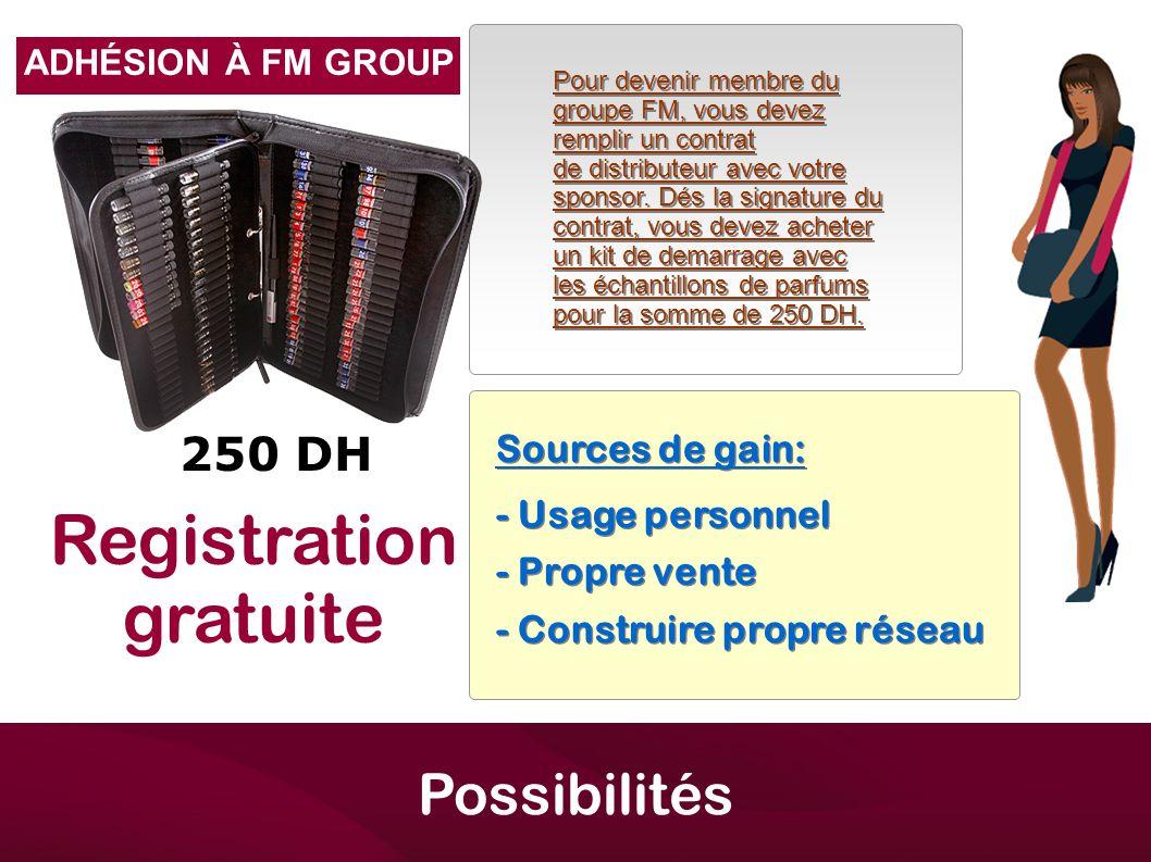 ADHÉSION À FM GROUP 250 DH Possibilités Pour devenir membre du groupe FM, vous devez remplir un contrat de distributeur avec votre sponsor. Dés la sig