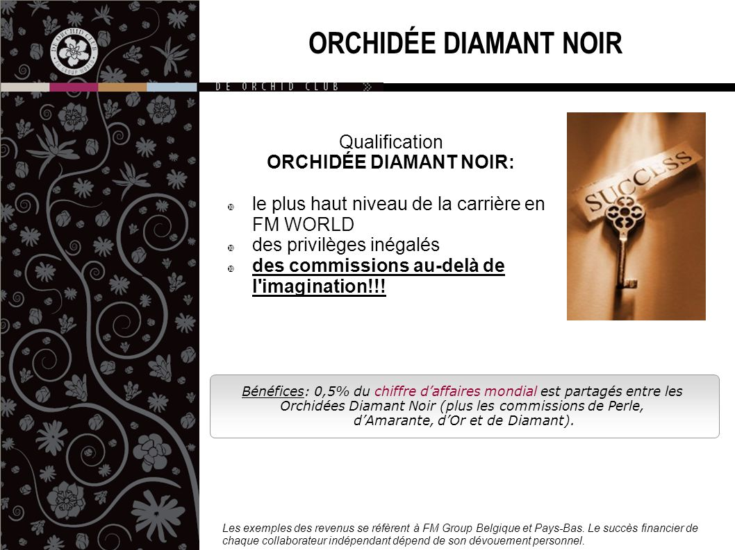 Bénéfices: 0,5% du chiffre daffaires mondial est partagés entre les Orchidées Diamant Noir (plus les commissions de Perle, dAmarante, dOr et de Diaman
