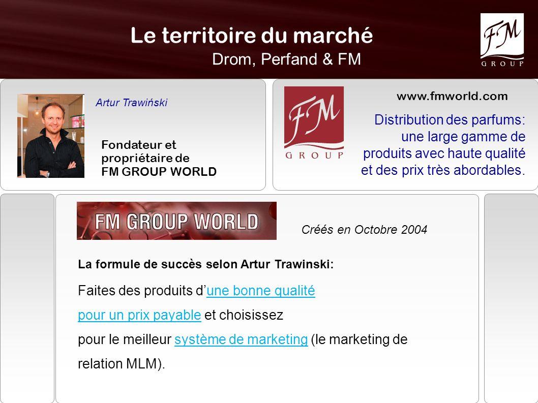 Le territoire du marché Drom, Perfand & FM Artur Trawiński Fondateur et propriétaire de FM GROUP WORLD Créés en Octobre 2004 La formule de succès selo